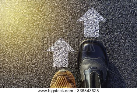Shoes Standing At The Crossroad And Get To Decision Which Way To Go. Ways To Choose Concept.