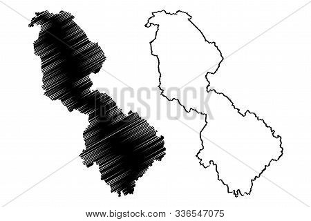 Leitrim County Council (republic Of Ireland, Counties Of Ireland) Map Vector Illustration, Scribble