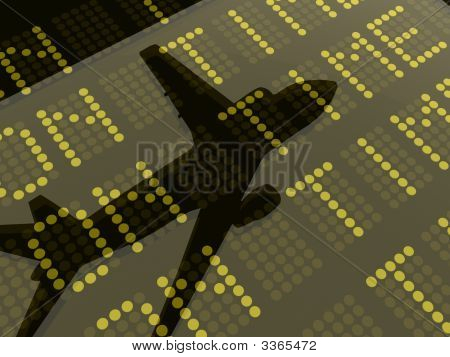 Reflection Of A Plane On A Departures And Arrivals Board