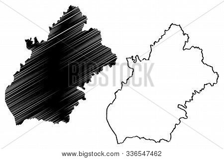 Longford County Council (republic Of Ireland, Counties Of Ireland) Map Vector Illustration, Scribble