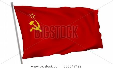 The Flag Of Soviet Union Ussr On Pole In Wind