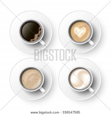 Cups Of Coffee With Saucer Assortment Set. Black Coffee, Cappuccino, Latte, Espresso, Macchiatto, Mo
