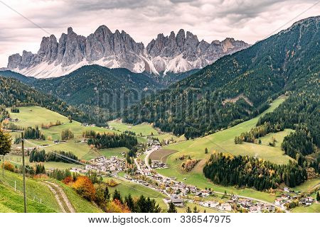 Overlooking The Village Of  Santa Maddalena And The Villnoess Valley With The Geisler Massif In The