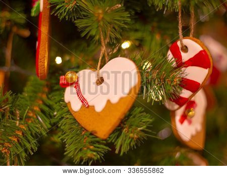 Decorated Christmas with gingerbread hanging on christmas tree, Holiday background, Merry Christmas Xmas and happy new year concept. Gingerbread hanging on the green fir as a christmas decoration