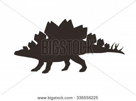 Vector Black Stegosaurus Dinosaur Silhouette Isolated On White Background