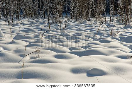 Russia. Mountain Altai. Texture Relief Of Hummocks On A Swamp Covered With Snow In Late Late Autumn.