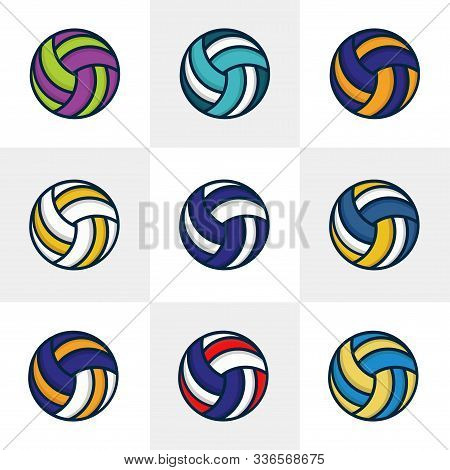 Set Of Nine Volley Ball Vector Illustration