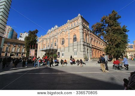 Murcia, Spain- November 16, 2019: Beautiful And Majestic Romea Theater Facade In Murcia Under Blue S