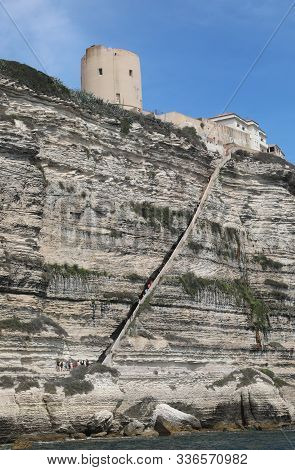 Wide Long Stairway On The Rocks Of Aragon Kings In Bonifacio Town In Corsica In France