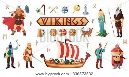 Scandinavian Vikings Culture Weapon Armor Costume Warship People Utensils Domesticated Cat Lettering