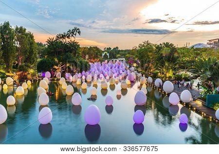 South East Asia / Singapore - Nov 29 2019 : Singapore Famous Tourists Attraction. Largest Christmas