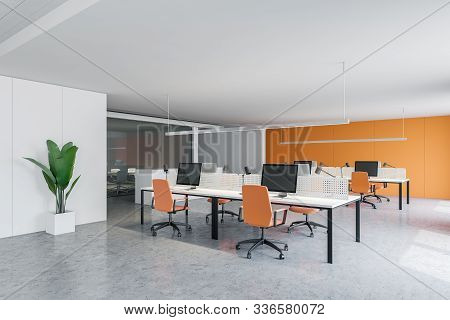 White And Orange Office With Conference Room