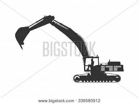Excavator. The Silhouette Of A Large Modern Excavator. Side View. Flat Vector.