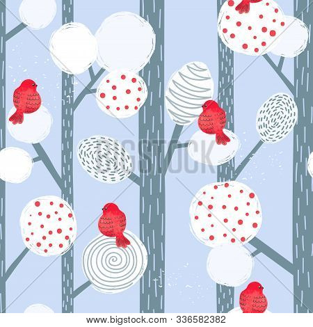 Seamless Abstract Christmas Pattern With Bullfinches And Trees. Vector Winter Forest Background.