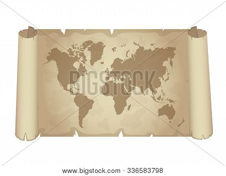 Old Papyrus With World Map. Vector Illustration.