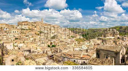 Aerial Panoramic View Of Historical Centre Sasso Caveoso Of Old Ancient Town Sassi Di Matera With Ro