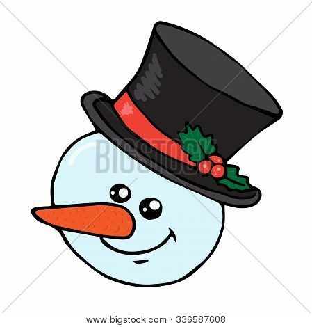 Snowman Head With Doodle Hat Isolated On White Background Vector Stock Illustration For Design And D