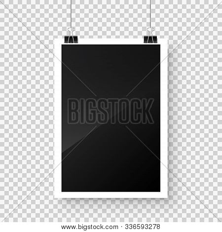 Photo Card Frame, Film Hanging On Paper Clips With Transparent Background. Digital Snapshot Image. P