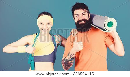 Fitness Exercises. Workout And Fitness. Girl And Guy Live Healthy Life. Fitness Coach. Exercising To
