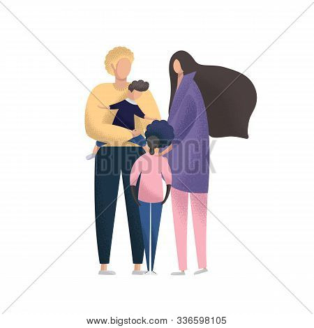 Happy Young Couple With Foster Children. Multiracial Family. Adoption Vector Illustration