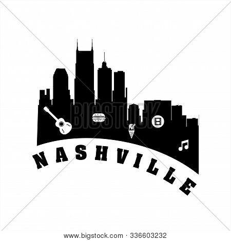Nashville City Logo, Icon, And Vector Illustration