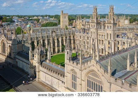 OXFORD,UK - AUGUST 17,2019 : The All Souls College at the University of Oxford on a beautiful sumnmer day