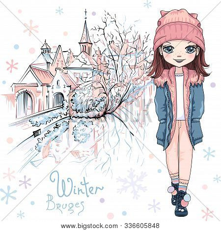 Vector Cute Baby Girl In Winter Clothes On Bruges Canal With Beautiful Medieval Houses And Church In