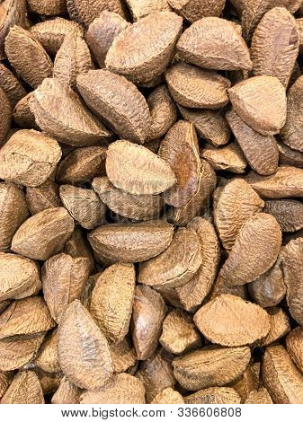 A Closeup Shot Of Brazil Nuts At A Local Grocer.