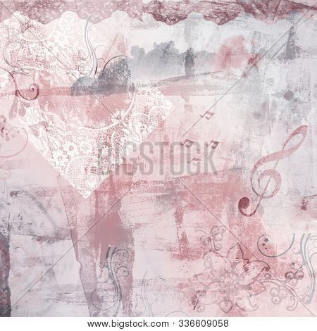 Shabby Chic Ephemera Digital Paper Rose And Gray Grunge Background In This Abstract Pattern For Grap