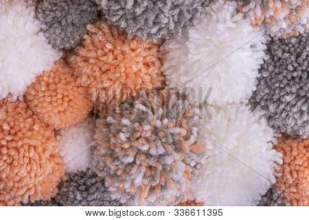 Soft Pompom Or Pon-pon Background Made With Woolen Threads