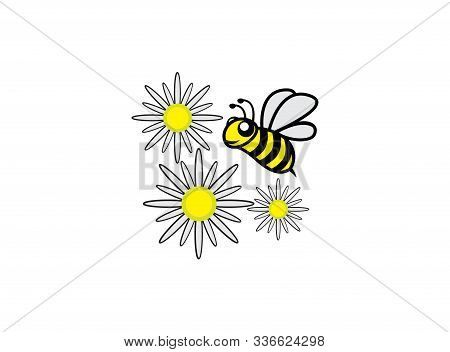 Bee And Flowers Nectar Open Wings And Fly For Logo Design Illustration On White Background