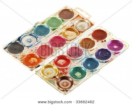 Old Watercolour Paints Palette.