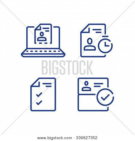 Submit Document Online, Distant Service, Send Resume By Internet, Vector Line Icon