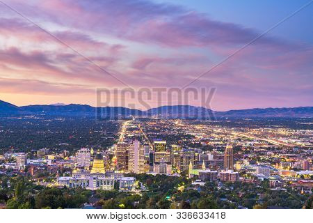 Salt Lake City, Utah, USA downtown city skyline at dusk.
