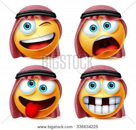 Saudi Arab Emoticon Vector Set. Saudi Arabian Emoji Face Head In Funny, Crazy And Naughty Facial Exp