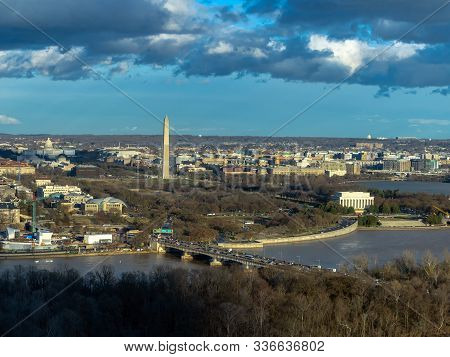 Top View Scene Of Washington Dc Down Town Which Can See United States Capitol, Washington Monument,