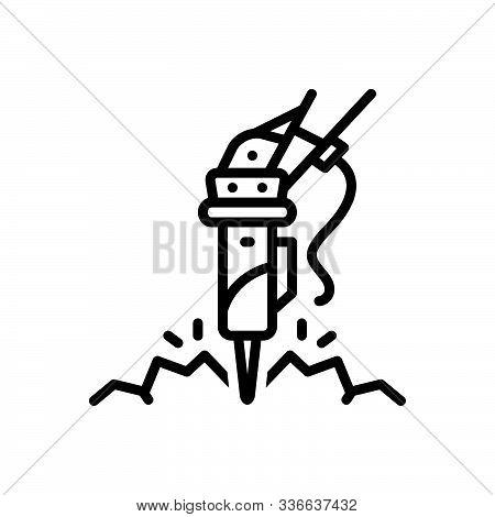 Black Line Icon For Construction_rock-breaker Rock Breaker Hammer Demolition