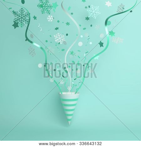 Happy New Year 2020 Background, Winter Abstract, Winter Background, Popper Cone, Snow Icon Confetti