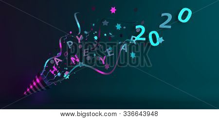 Happy New Year 2020 Background, New Year Banner, Party Popper Cone And Glittering Confetti On Green