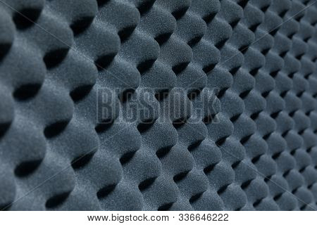 Close Up Of Sound Proof Coverage In Music Studio, Sound Proof Coverage In Recording Studio For Backg