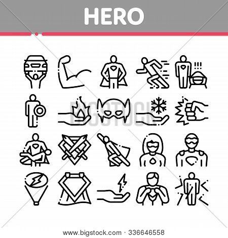 Super Hero Collection Elements Icons Set Vector Thin Line. Hero Superman Silhouette And Woman, Face
