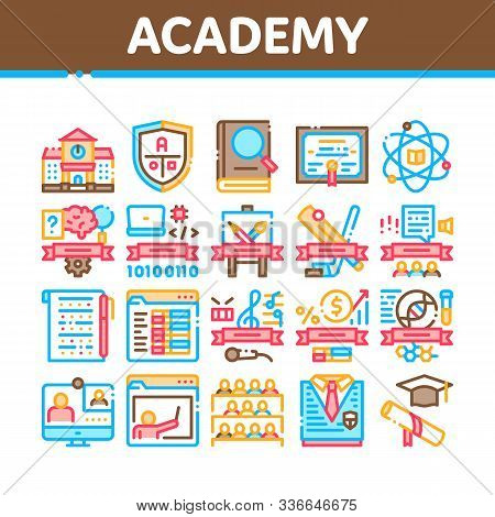 Academy Educational Collection Icons Set Vector Thin Line. Academy Building And Uniform, Book And Pa