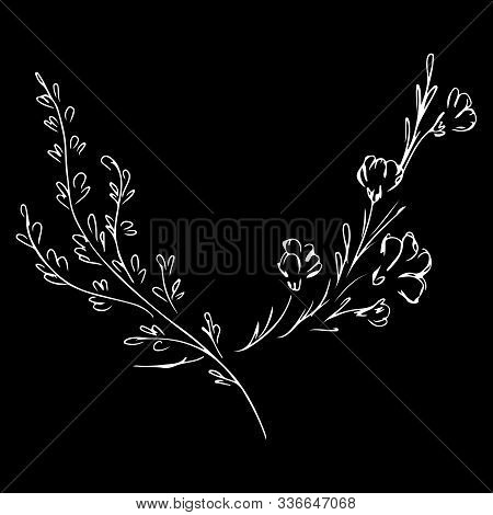 Hand Drawn Vector Illustrations Of Two Branches With Flowers And Leaves Isolated On Black Background