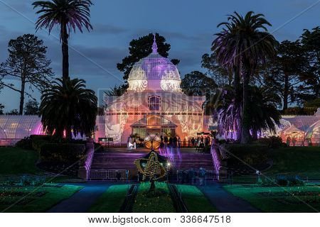 San Francisco, California - November 29, 2019: Conservatory Of Flowers Iconic Façade During Holiday