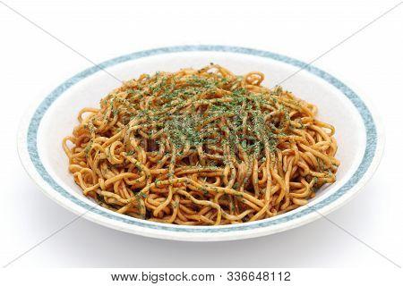 Japanese Food, Fried Noodles On Dish, Yakisoba.