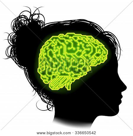 Silhouette Of A Woman With A Brain Made Up Of Electrical Circuits Or A Circuit Board