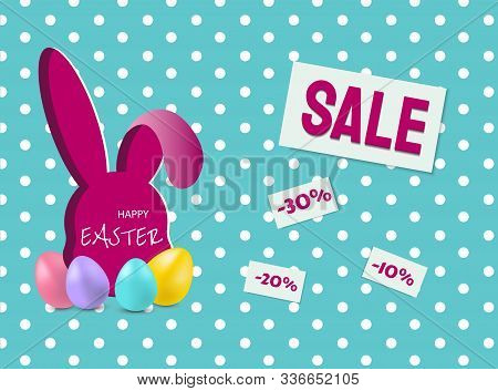 bunny sale easter banner vector illustration EPS 10 Happy Easter, easter bunny, easter background, easter banners, easter flyer, easter design,easter with flowers on red background, Copy space text area, vector illustration.