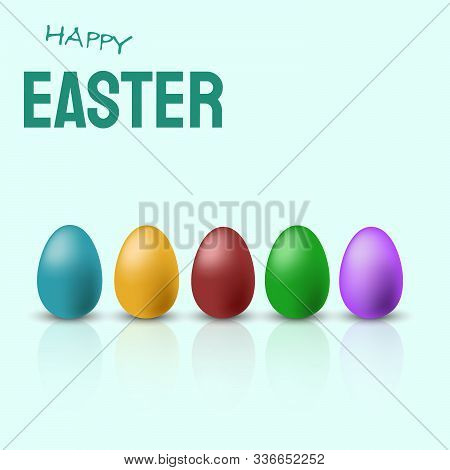 Perfect colorful handmade easter eggs isolated vector. Happy Easter, easter bunny, easter background, easter banners, easter flyer, easter design,easter with flowers on red background, Copy space text area, vector illustration.