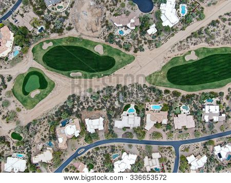 Aerial View Above Golf Course And Upscale Luxury Homes In Scottsdale, Arizona