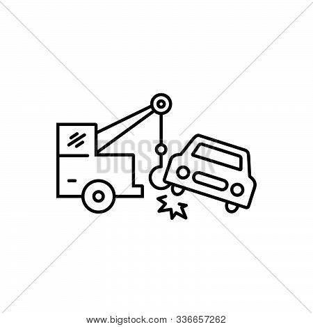 Black Line Icon For Car-towing Car Towing Tow Accident Breakdown